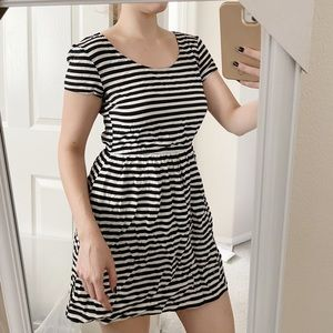 Black and white striped dress, with pockets!